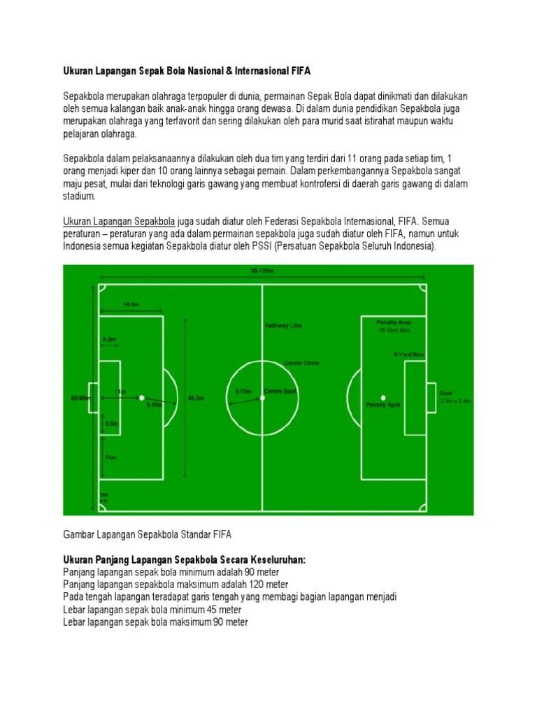Panjang Dan Lebar Lapangan Bola : panjang, lebar, lapangan, Ukuran, Lapangan, Sepak, Nasional