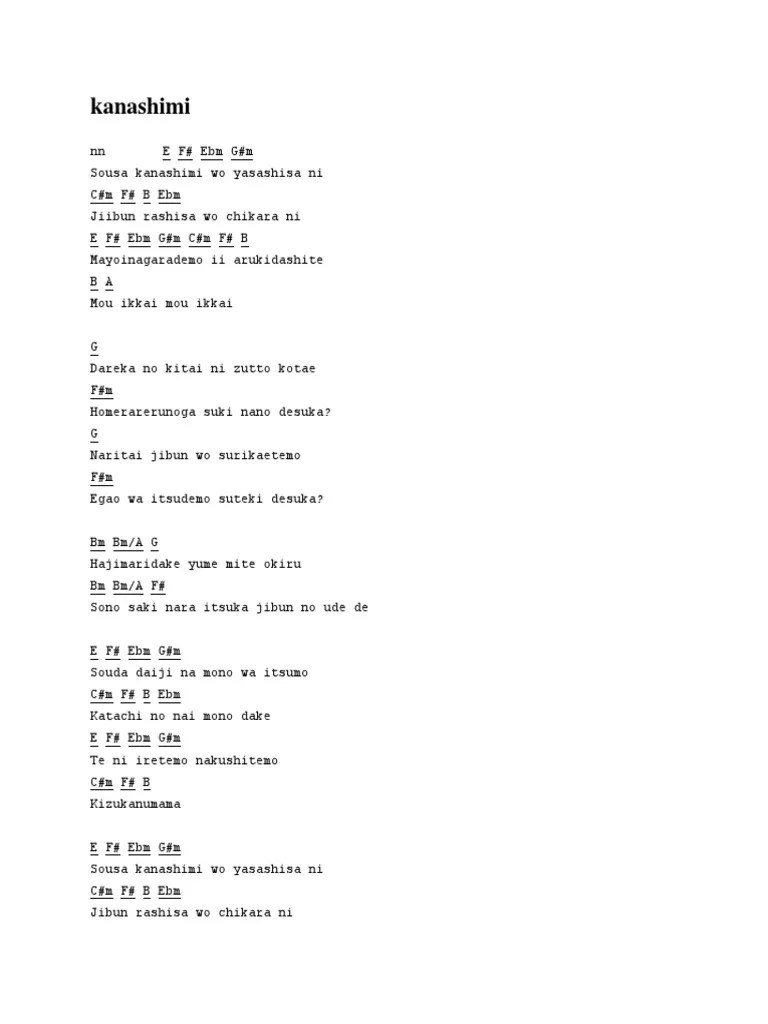 Chord Gitar Nano : chord, gitar, Kunci, Gitar, Kanashimi, Yasashisa