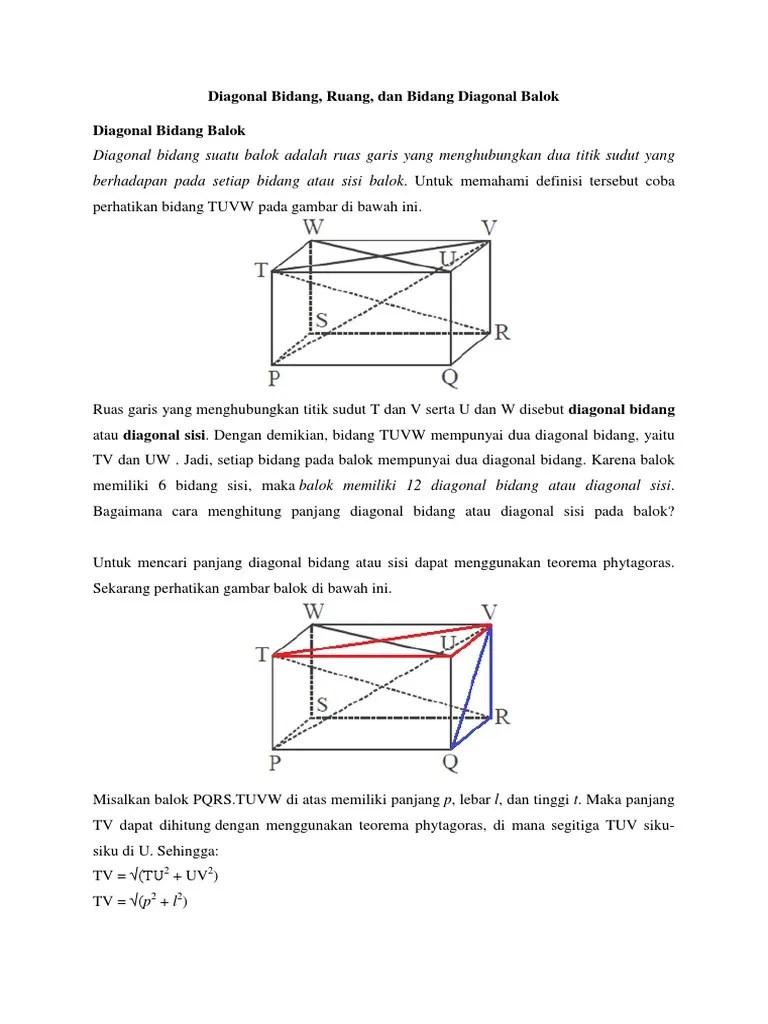 Diagonal Sisi Balok : diagonal, balok, Diagonal, Bidang,, Ruang, Bidang