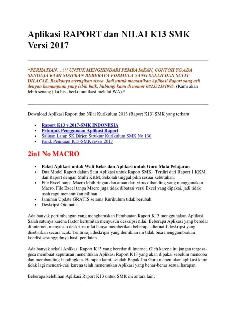 Aplikasi Raport K13 Smk Gratis : aplikasi, raport, gratis, Aplikasi, RAPORT, NILAI, Versi.docx