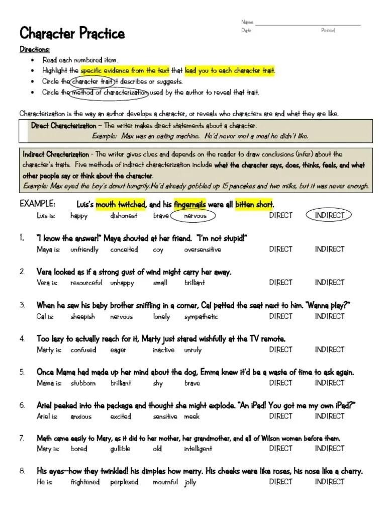 09 30 Barker Grade 6 Characterization Practice Worksheets [ 1024 x 768 Pixel ]