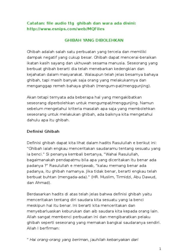 Definisi Ghibah : definisi, ghibah, GHIBAH, Bersikap