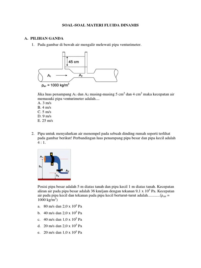 Soal Fluida Dinamis : fluida, dinamis, Materi, Fluida, Dinamis