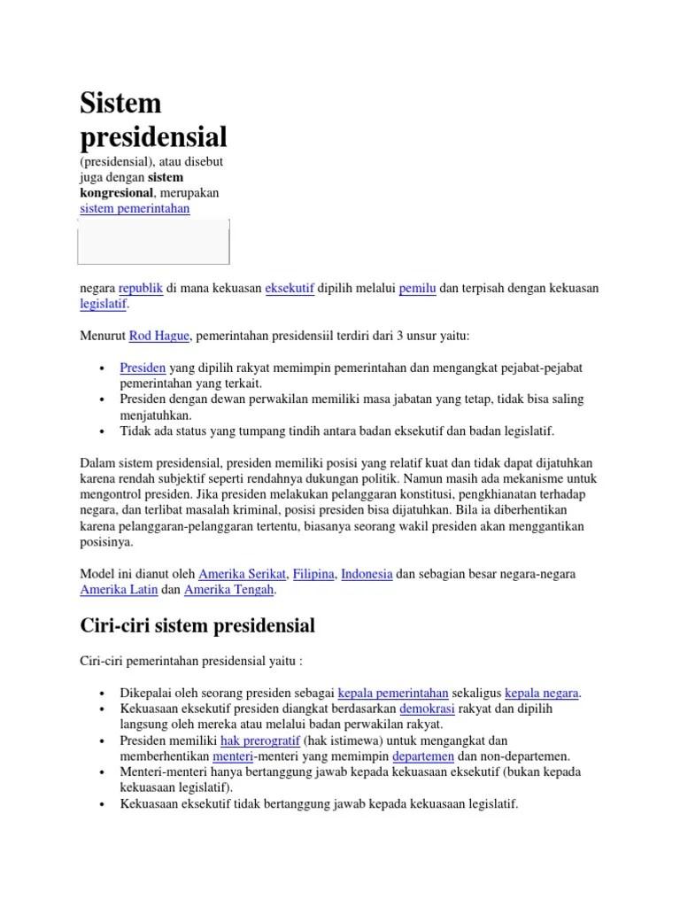 Ciri Sistem Presidensial : sistem, presidensial, Ciri-ciri, Sistem, Presidensial