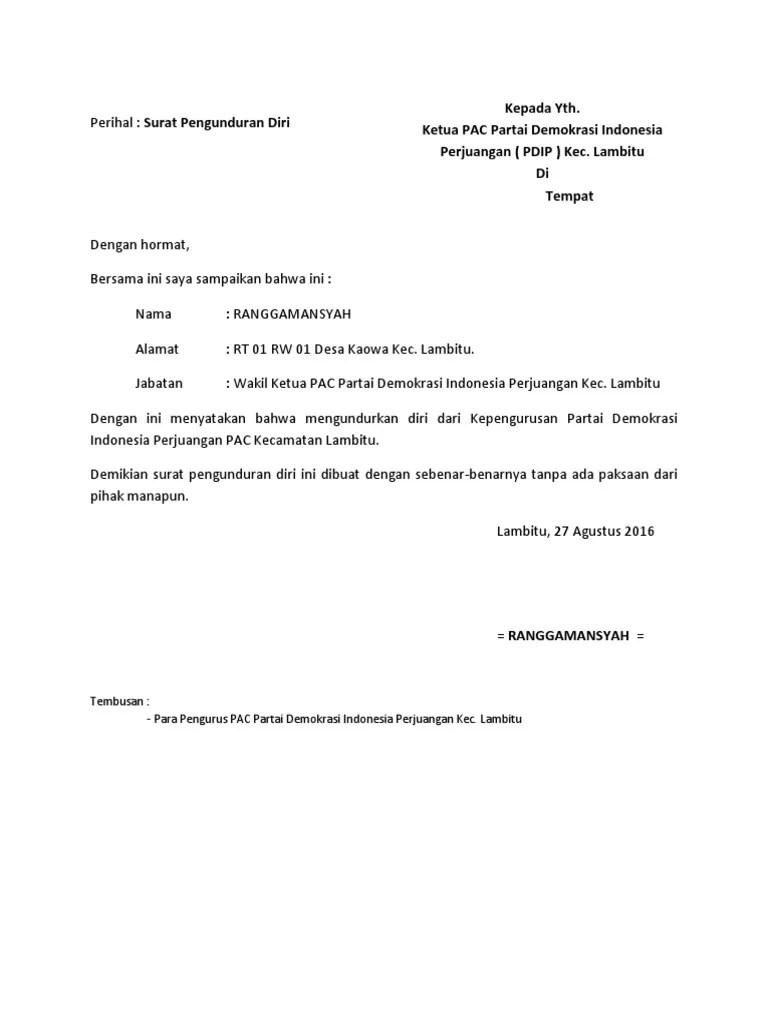 Contoh Surat Pengunduran Diri Dari Kader Partai Bagi Cute766
