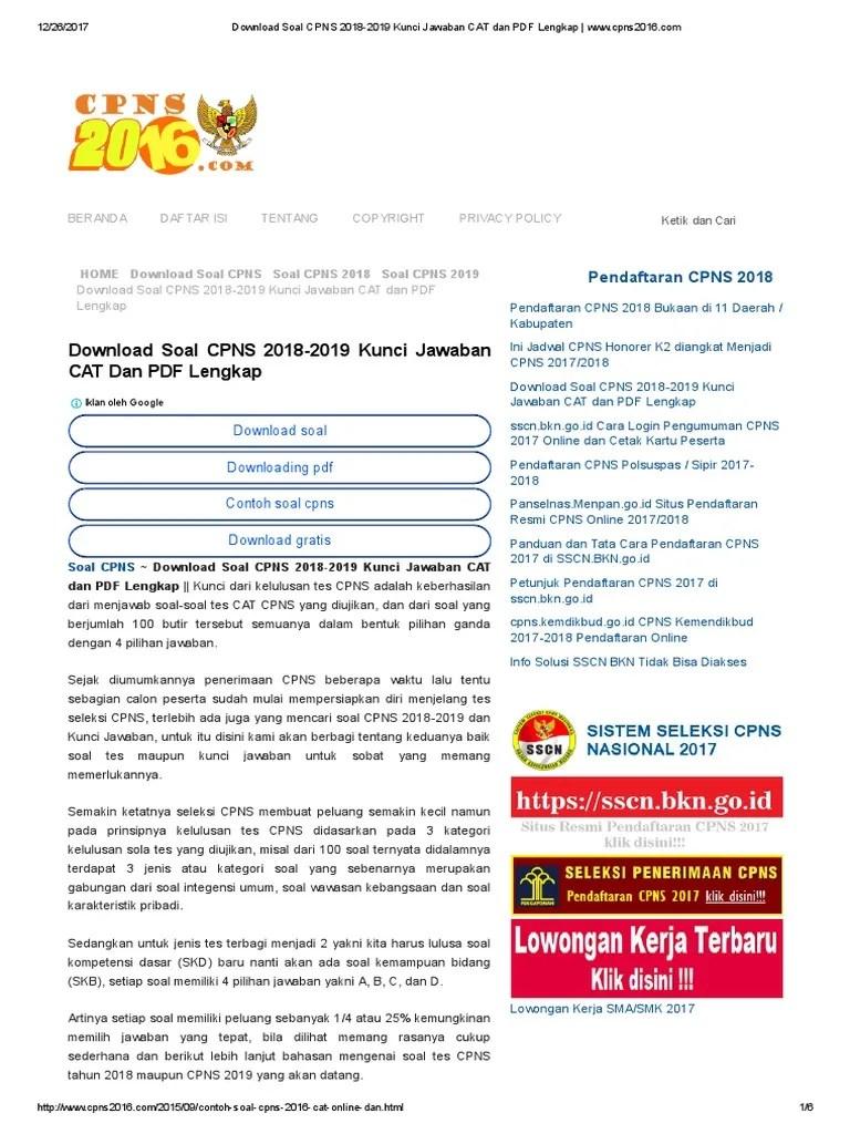Contoh Soal Cpns 2018 Lengkap Kisi2 Soal Jawaban Tes Cute766