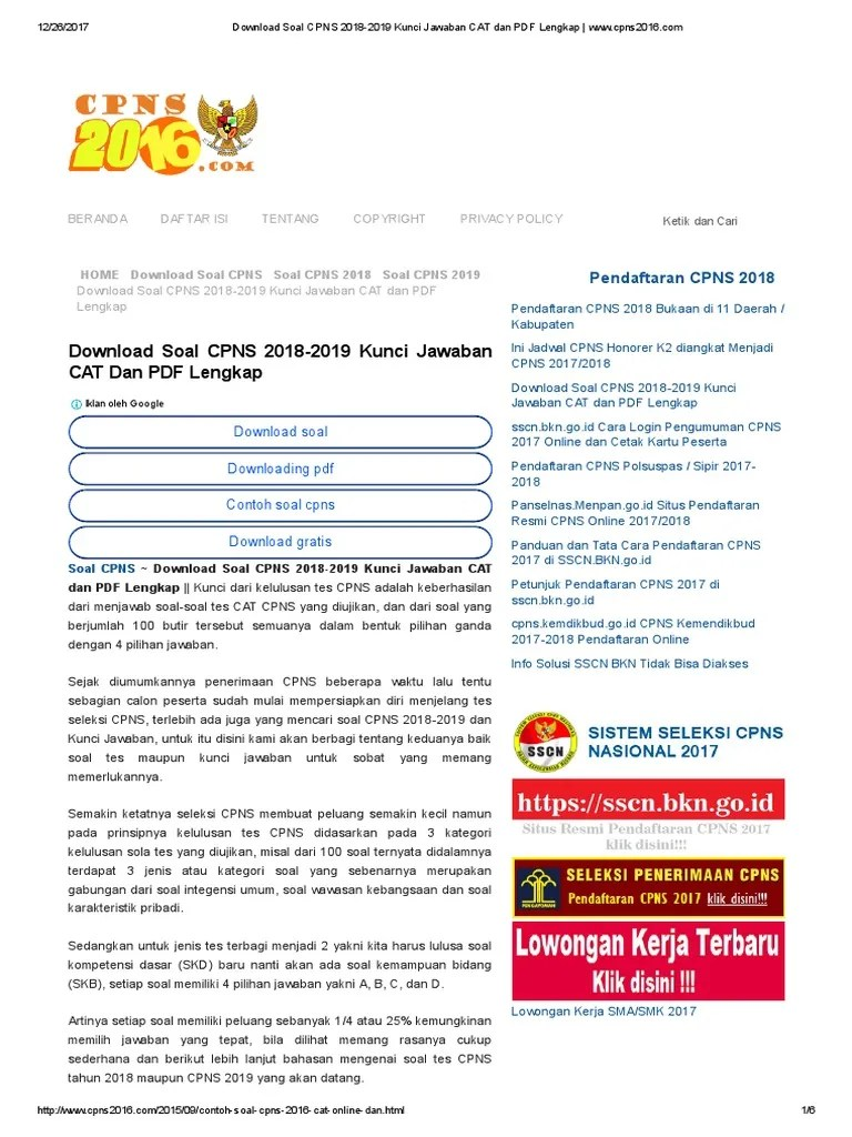 Download Soal Cpns 2018 : download, Download, 2018-2019, Kunci, Jawaban, Lengkap, Www.cpns2016