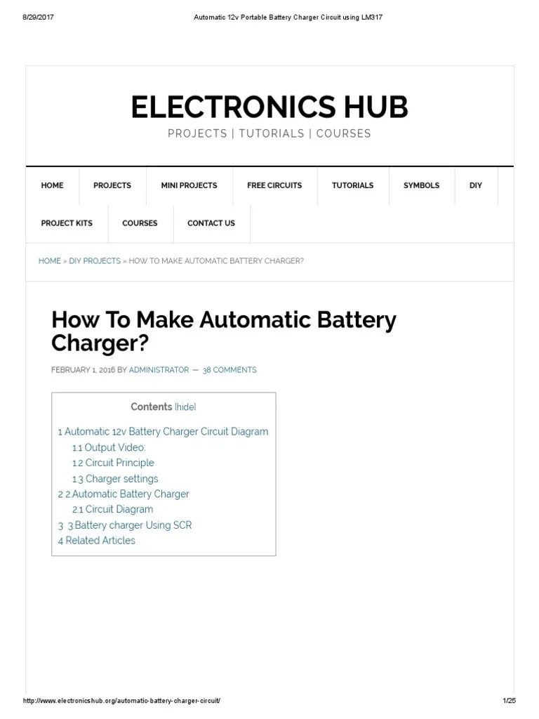 small resolution of automatic 12v portable battery charger circuit using lm317 battery charger battery electricity