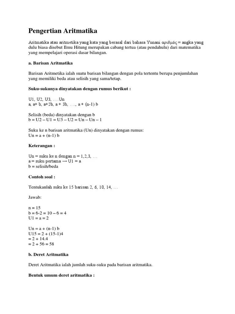 Pengertian Barisan Aritmatika : pengertian, barisan, aritmatika, Pengertian, Aritmatika