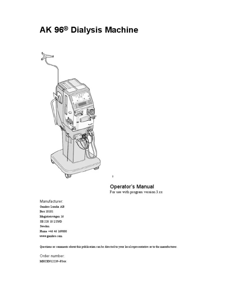 medium resolution of gambro ak 96 dialysis machine operator s manual hemodialysis dialysis