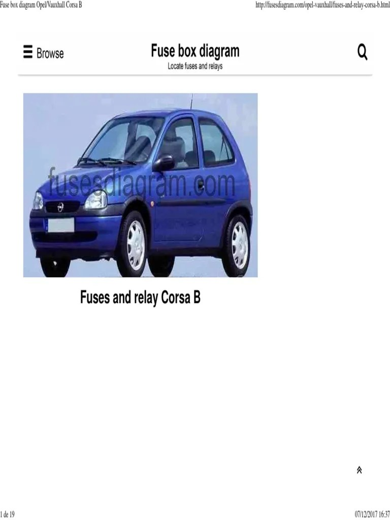 small resolution of fuse box diagram opel vauxhall corsa b pdf