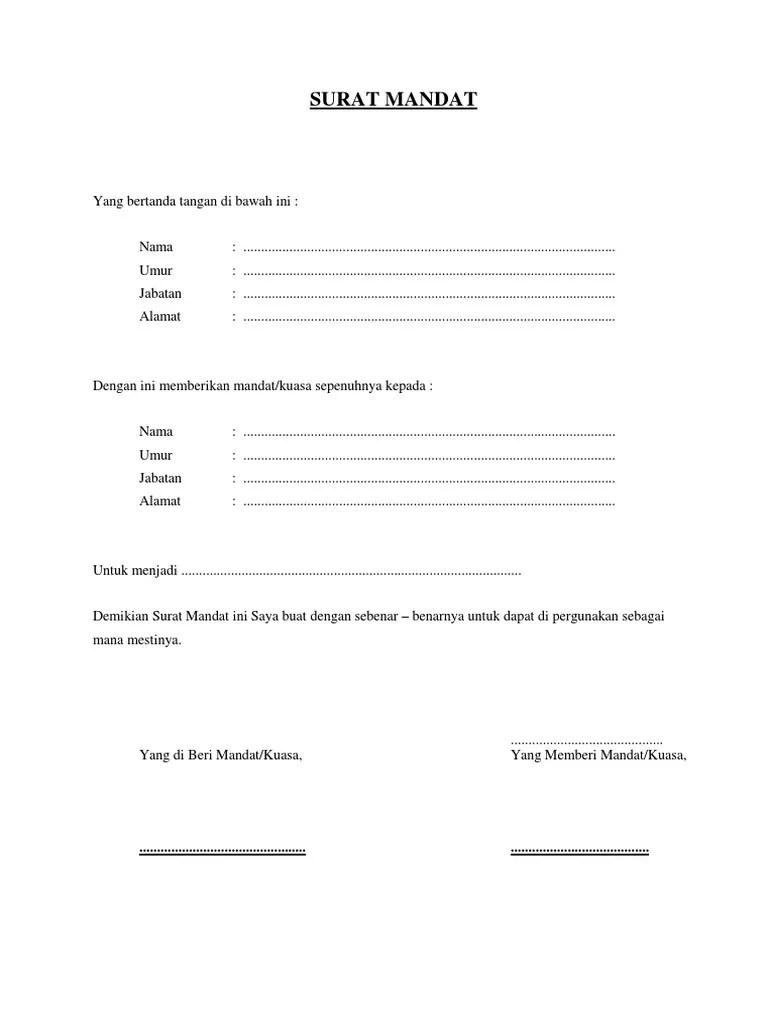 Contoh Surat Mandat : contoh, surat, mandat, Contoh, Surat, Mandat