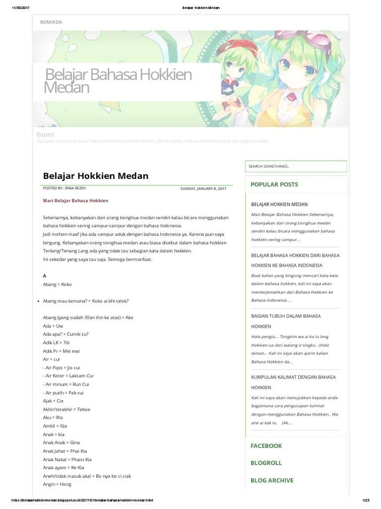 Belajar Bahasa Hokkien : belajar, bahasa, hokkien, Belajar, Hokkien, Medan