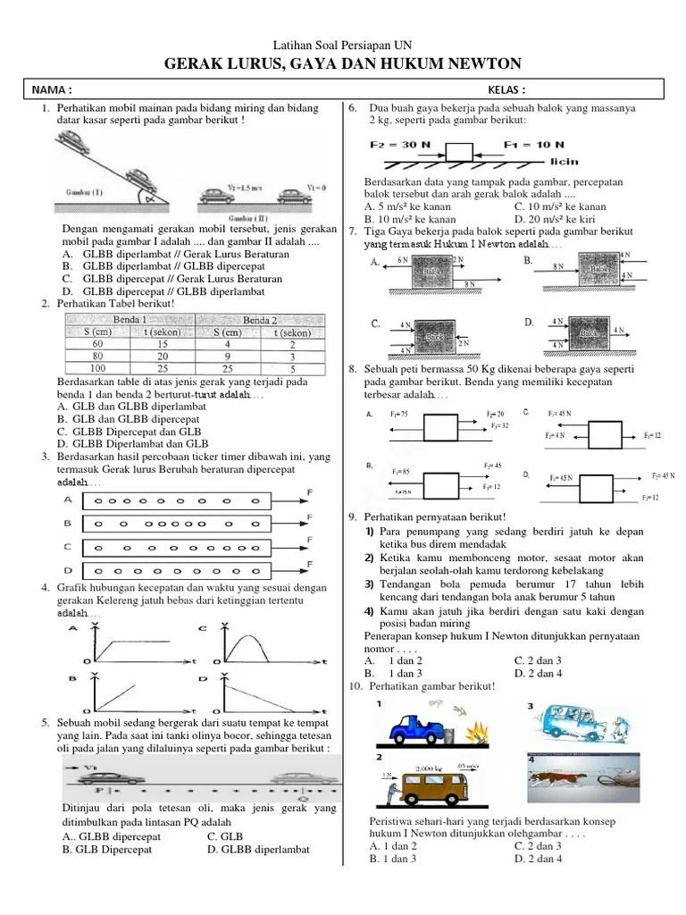 Materi Gerak Lurus Smp Kelas 8 : materi, gerak, lurus, kelas, Ulangan, Gerak, Lurus, Helmi, Kediris