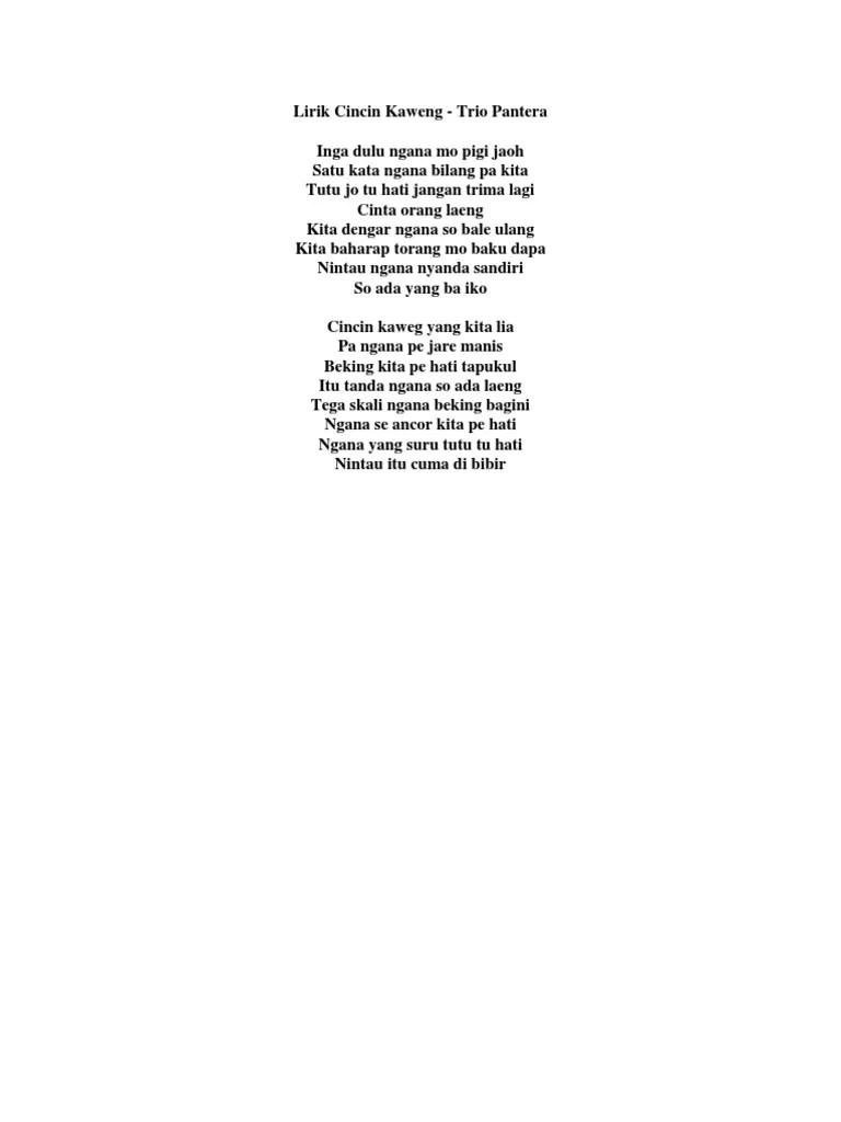 Koleksi Lirik Lagu Manado Terlengkap