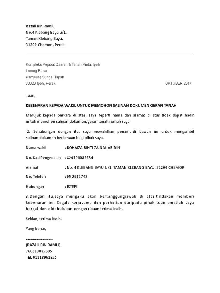 Contoh Surat Rasmi Wakil Syarikat