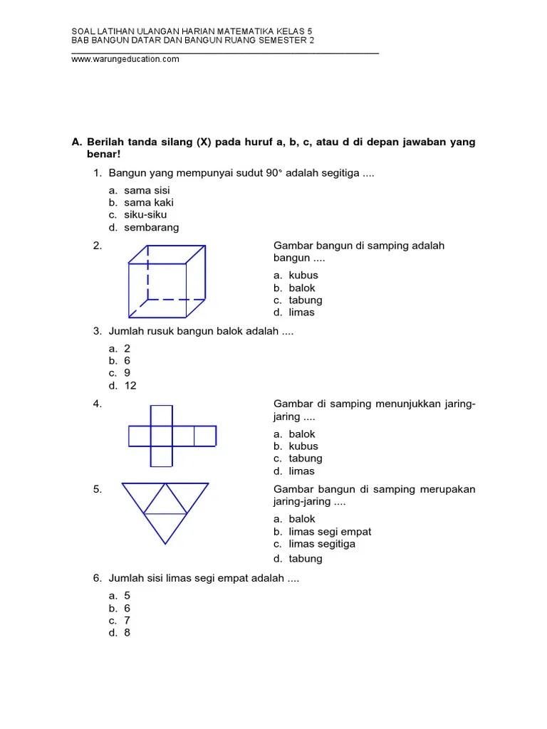 Contoh Soal Jaring-jaring Kubus Dan Balok Kelas 5 Sd : contoh, jaring-jaring, kubus, balok, kelas, Jaring, Kubus, Balok, Kelas, Temukan, Jawab
