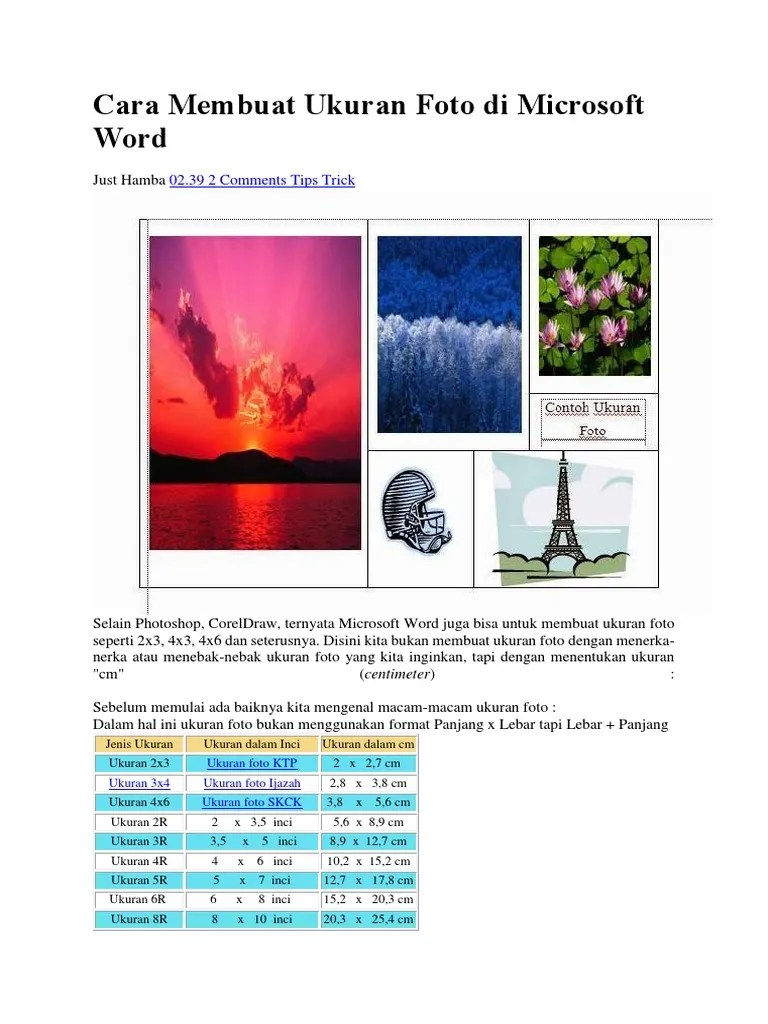 Ukuran Foto 4x6 Di Word : ukuran, Membuat, Ukuran, Microsoft