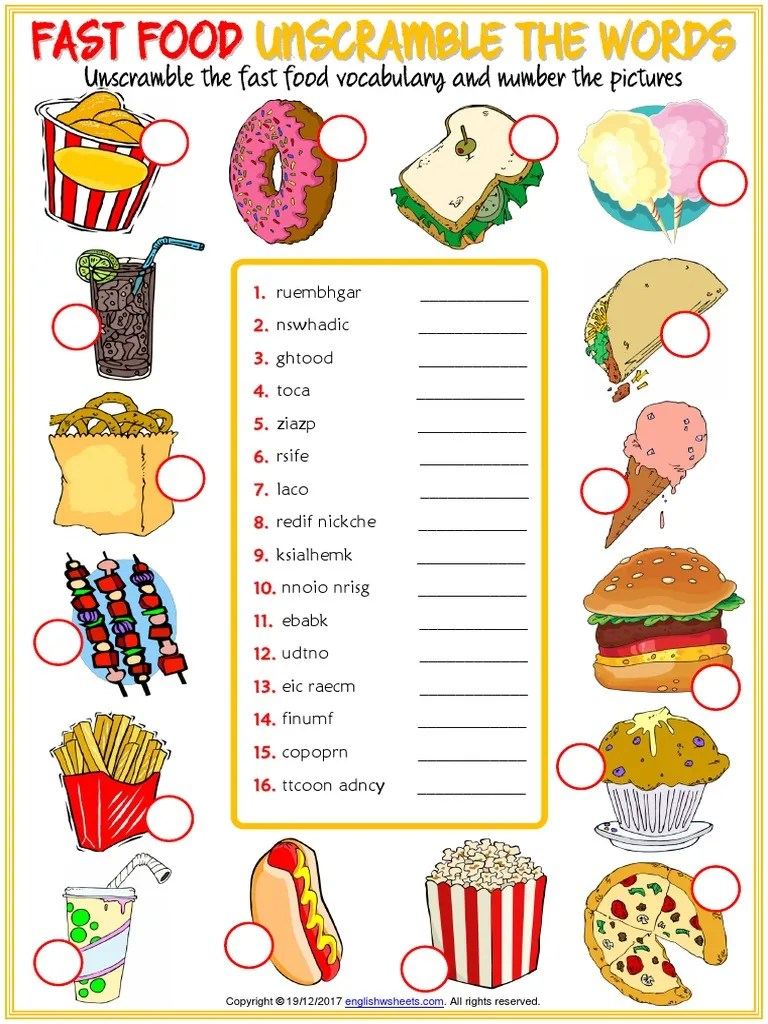 Fast Food Vocabulary Esl Unscramble the Words Worksheet for Kids