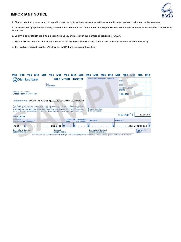Sample Deposit Slip Banking Banks