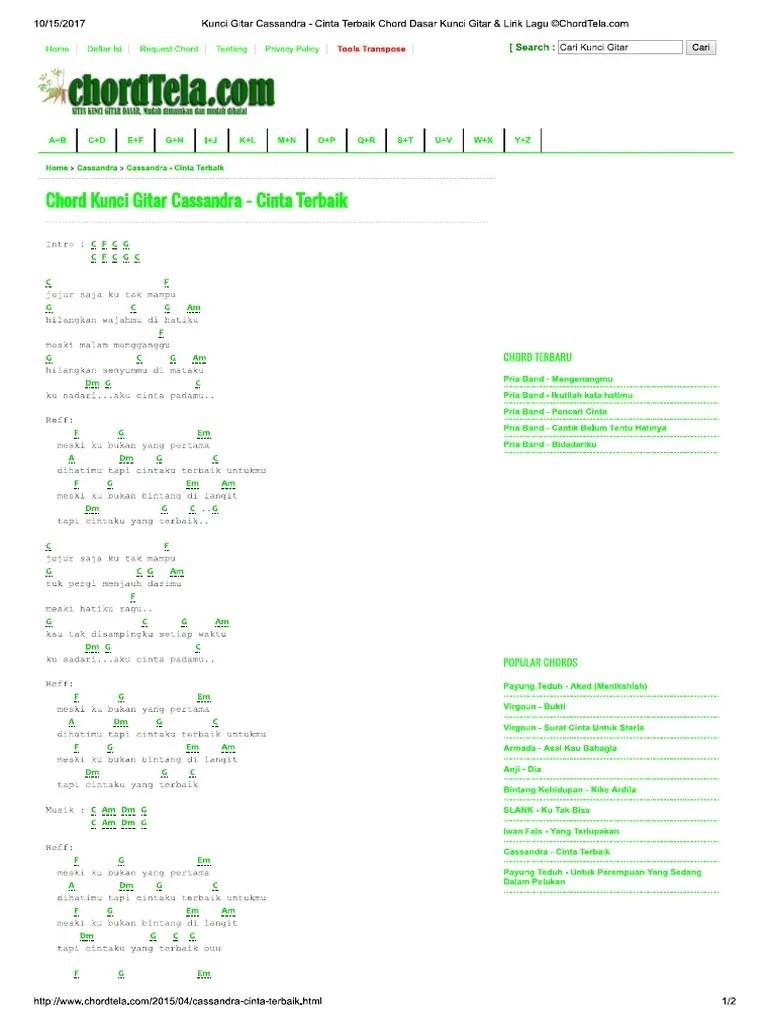 Chordtela Menghitung Hari : chordtela, menghitung, Kunci, Gitar, Cassandra, Cinta, Terbaik, C...unci, Lirik, ©ChordTela