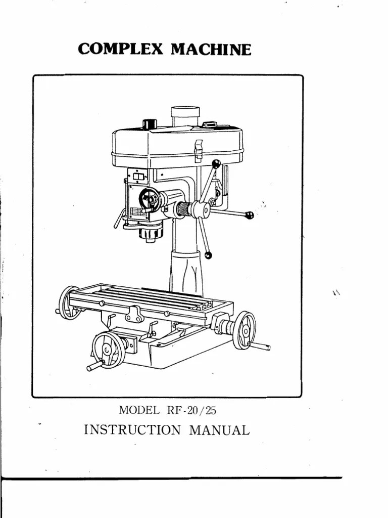 Rong-Fu RF-25 Mill Manual