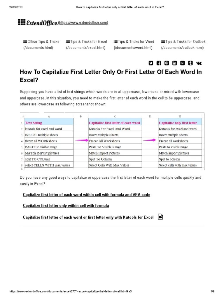 Capitalize Each Word In Word : capitalize, Capitalize, First, Letter, Excel, Visual, Basic, Applications