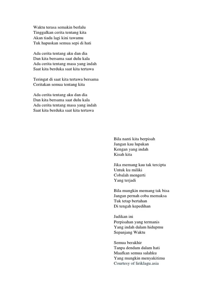 Tentang Aku Kau Dan Dia Lirik : tentang, lirik, Lirik, Perpisahan