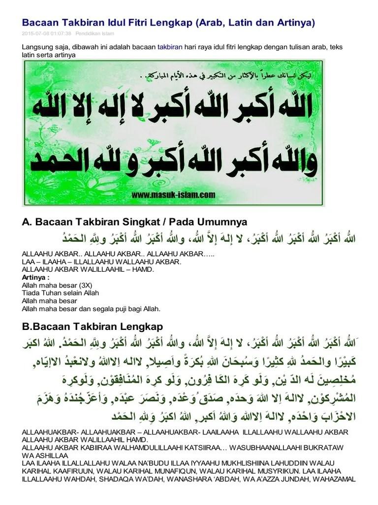 Takbir Idul Fitri Lengkap : takbir, fitri, lengkap, Situs, Pendidikan, Islam