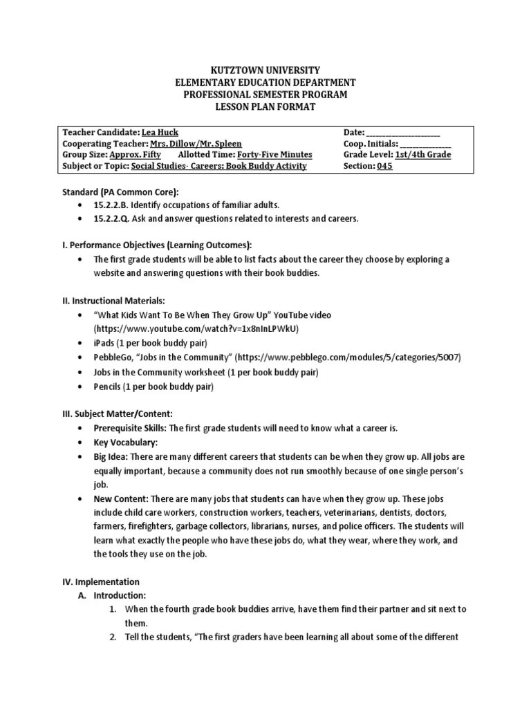 career unit book buddy activity   Students   Lesson Plan [ 1024 x 768 Pixel ]