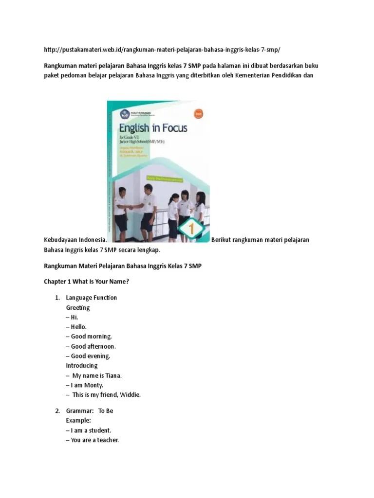 Materi Kelas 7 Bahasa Inggris : materi, kelas, bahasa, inggris, Rangkuman, Materi, Pelajaran, Bahasa, Inggris, Kelas, Indonesian, Language, English
