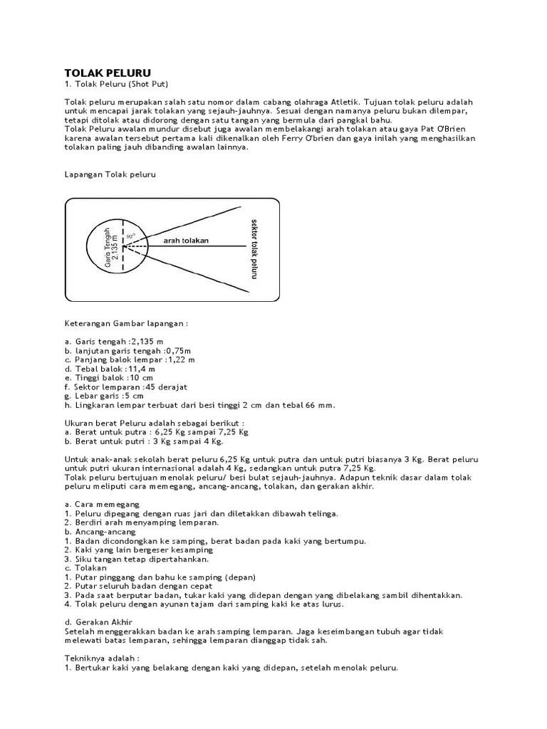 Tolak Peluru [Lengkap] : Pengertian, Teknik, Lapangan