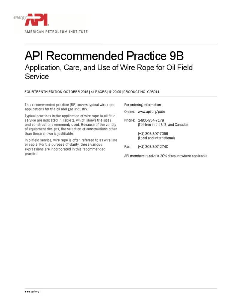 medium resolution of api recommended practice 9b application care and use of wire rope for oil field