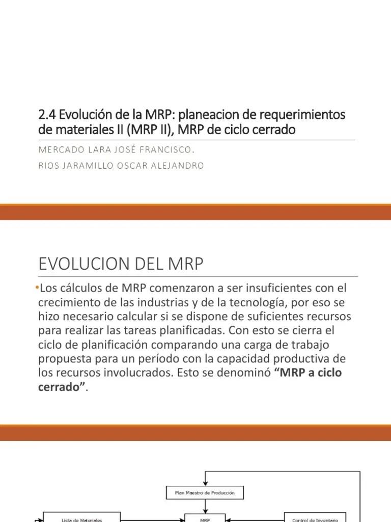 medium resolution of evolucion de la mrp planeacion de requerimientos de materiales ii y mrp de ciclo cerrado