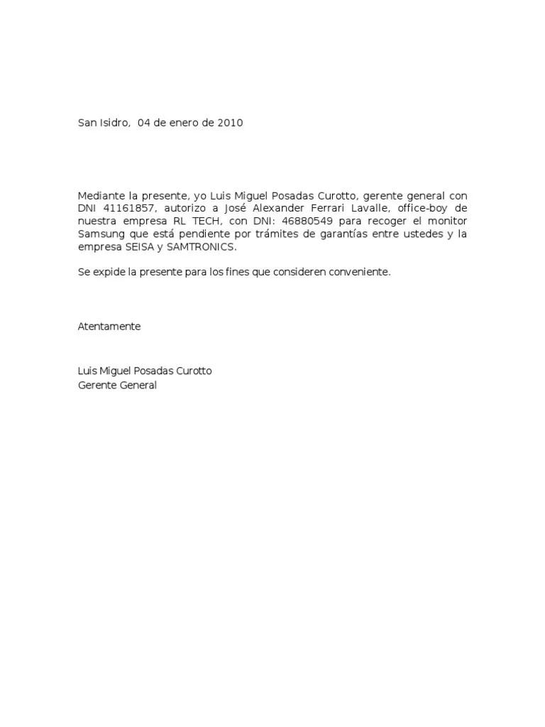 carta de autorizacin