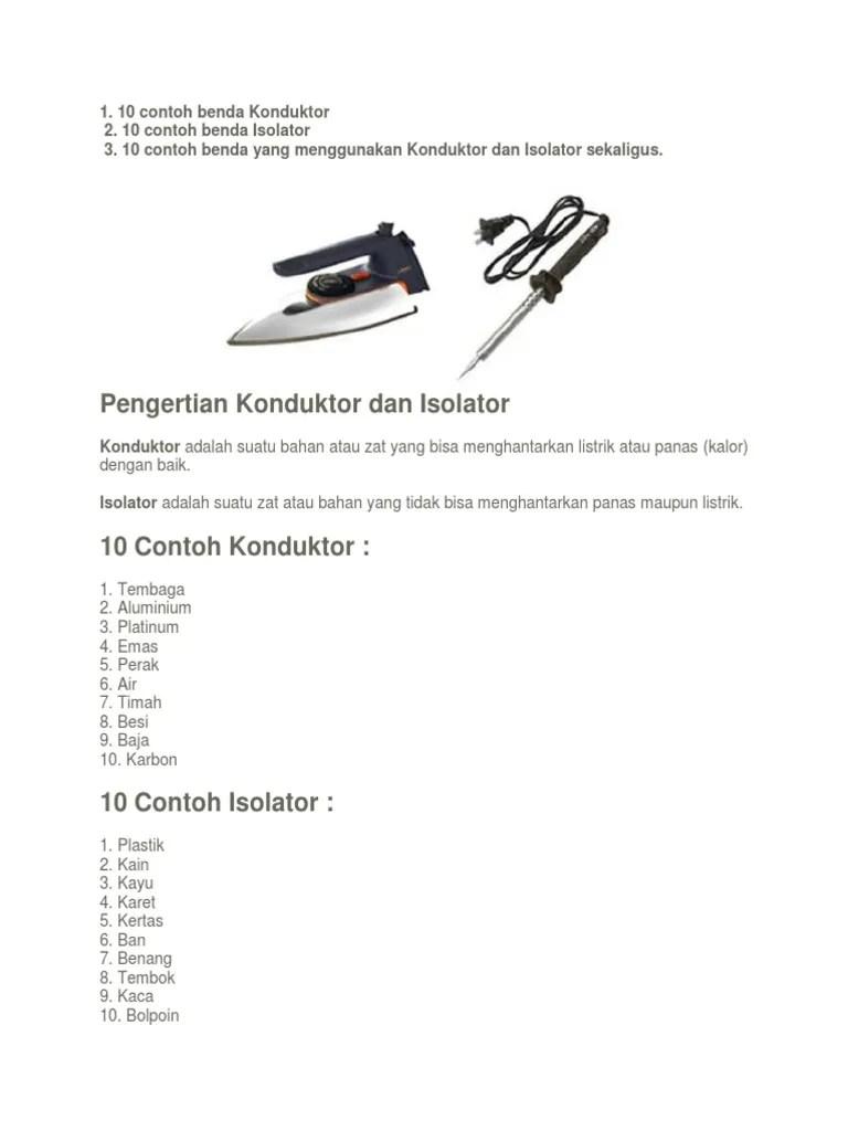 Contoh Benda Konduktor Dan Isolator Panas : contoh, benda, konduktor, isolator, panas, Cntoh, Benda, Konduktor, Isolator