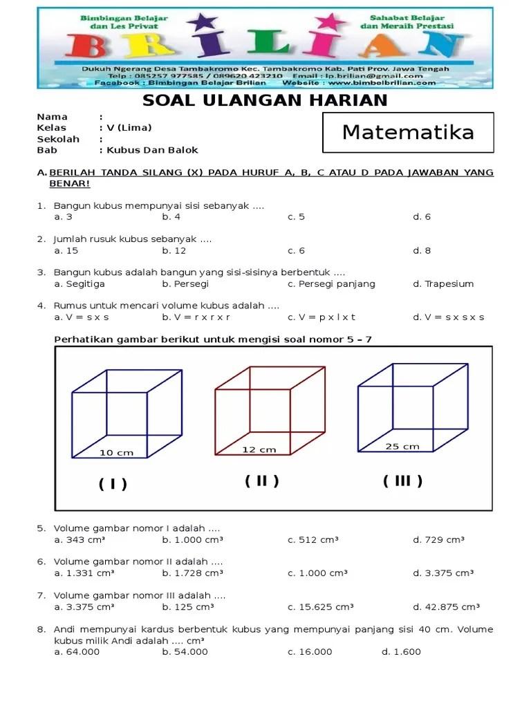 Contoh Soal Kubus : contoh, kubus, Contoh, Matematika, Kelas, Kubus, Balok, Terbaru