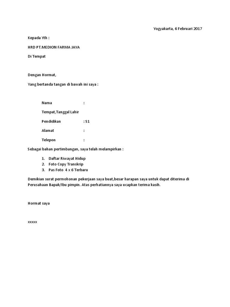 Contoh Surat Lamaran Kerja Simple dan Sederhana - Agus Wibowo