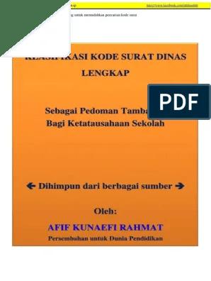 Klasifikasi Kode Surat Dinas Lengkap Pdf : klasifikasi, surat, dinas, lengkap, SURAT, DINAS.pdf