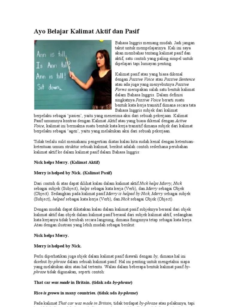 Cara Mengubah Kalimat Aktif Menjadi Pasif : mengubah, kalimat, aktif, menjadi, pasif, Mengubah, Kalimat, Aktif, Menjadi, Pasif, Bahasa, Inggris, Cute766