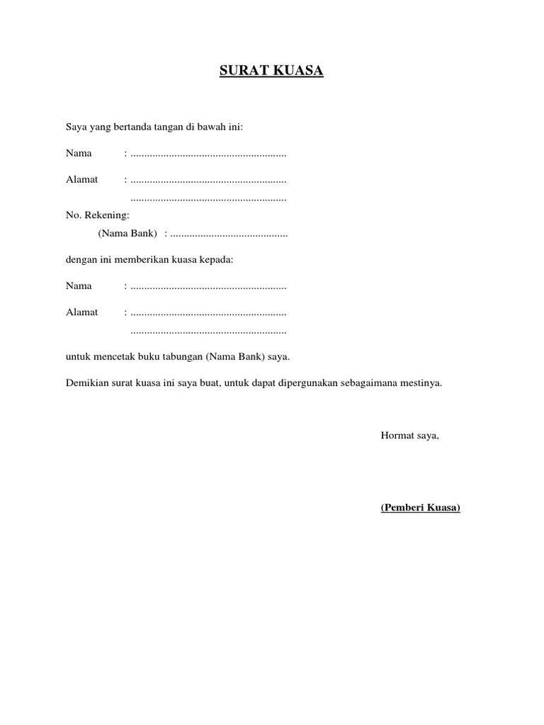 Surat Kuasa Cetak Buku Tabungan : surat, kuasa, cetak, tabungan, Contoh, Surat, Kuasa, Cetak, Tabungan