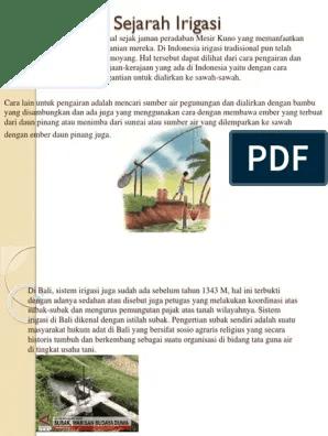 Sistem Pengairan Sawah Di Bali Disebut : sistem, pengairan, sawah, disebut, Sejarah, Irigasi