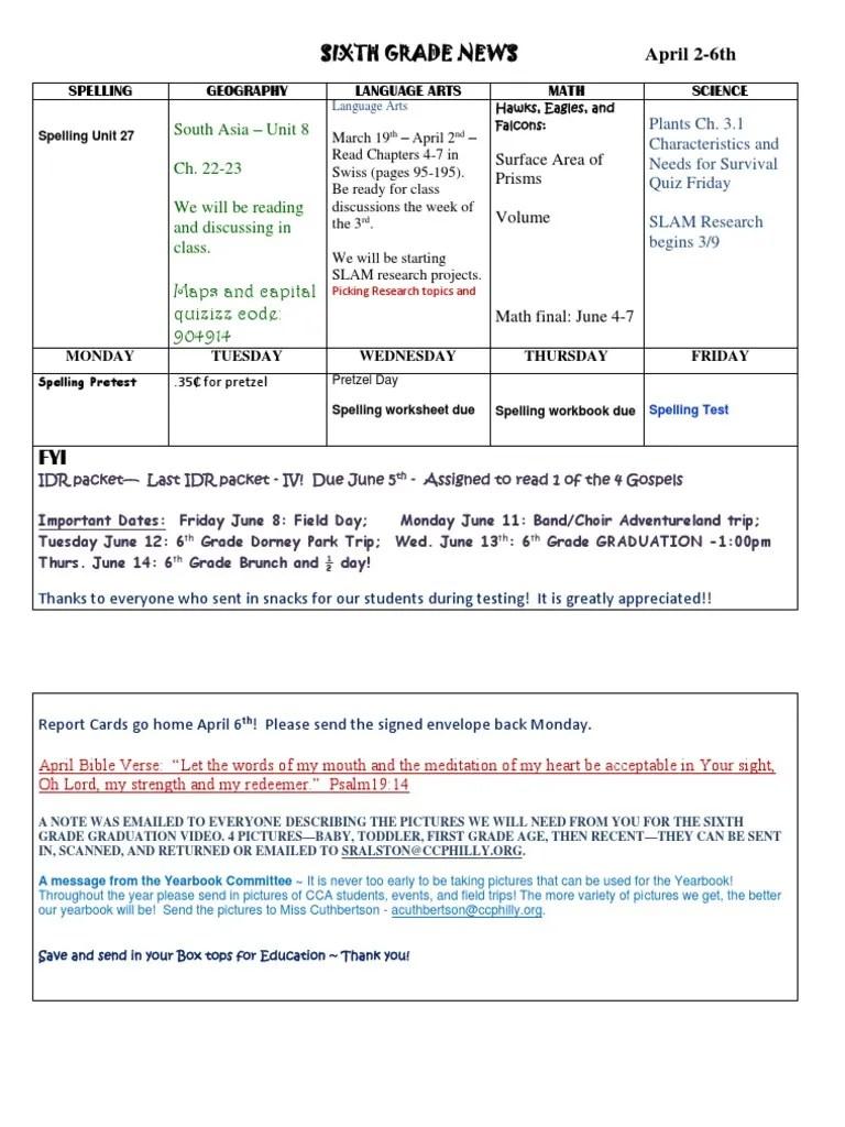 sixth grade news april 2-6th [ 1024 x 768 Pixel ]
