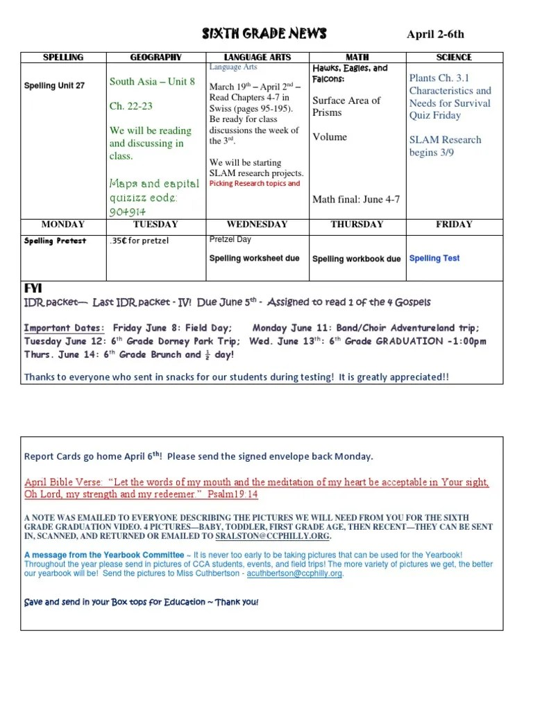 small resolution of sixth grade news april 2-6th