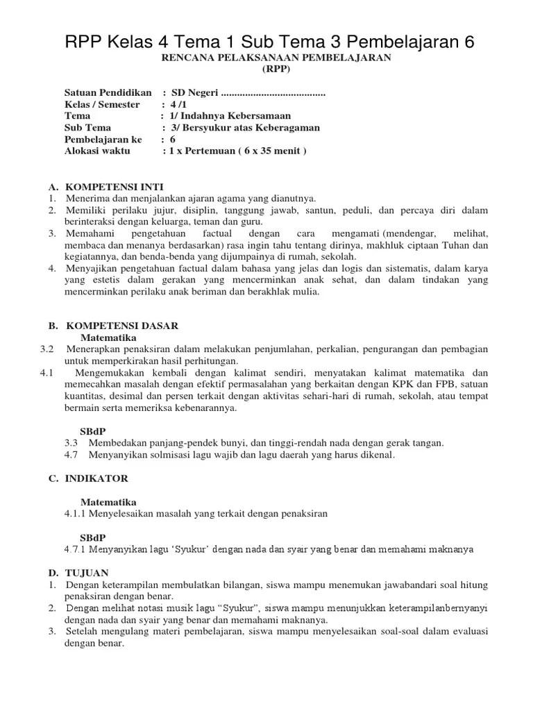Download Rpp Kelas 4 Tema 3 : download, kelas, Kelas, Pembelajaran