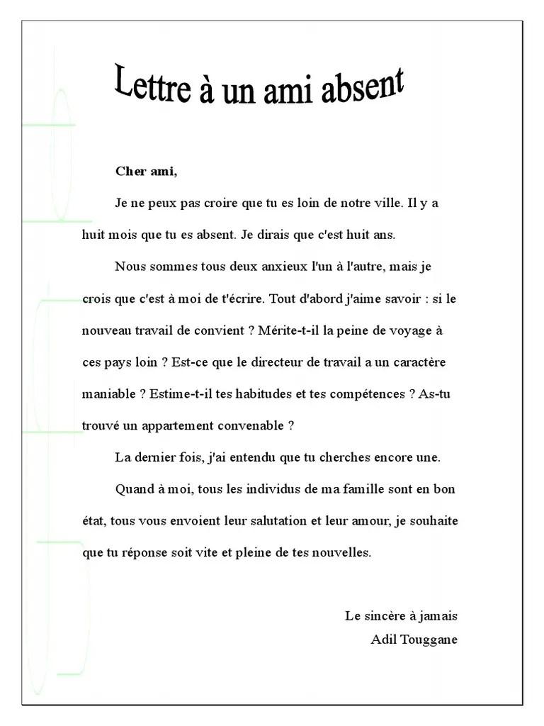 Lettre A Un Ami Cher : lettre, Lettre, Absent