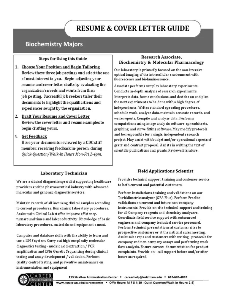 Lab Support Cover Letter Biochemistry Resume And Cover Letter Guide 2017 Experiment