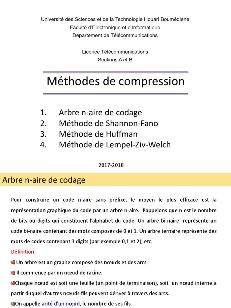 Taux De Compression Par Rapport à Un Code Ascii : compression, rapport, ascii, Methode, Compression, Codage, Source, Données, (information)