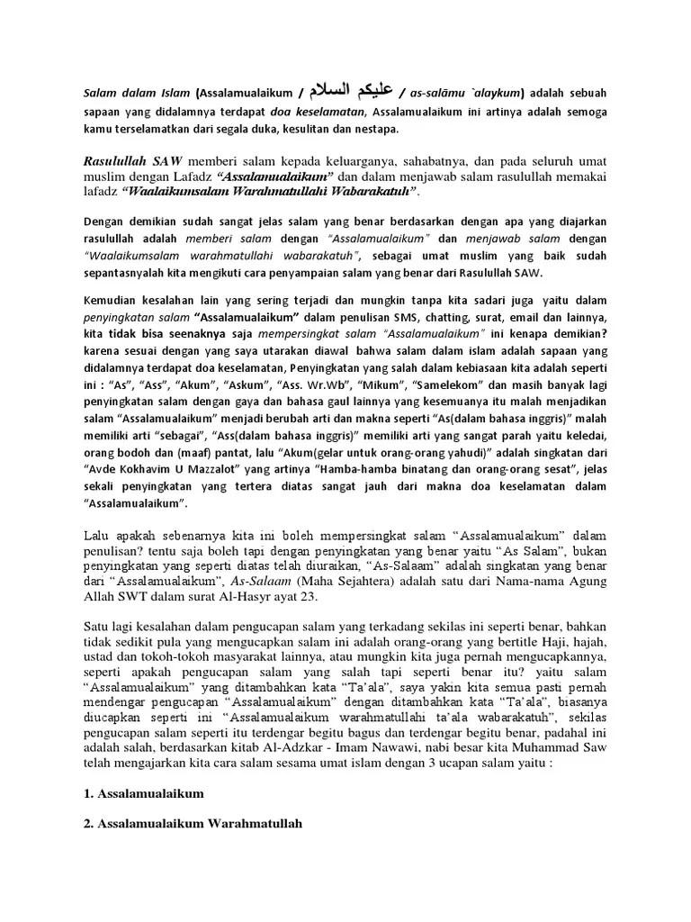 Tulisan Salam Yang Benar : tulisan, salam, benar, Salam, Dalam, Islam