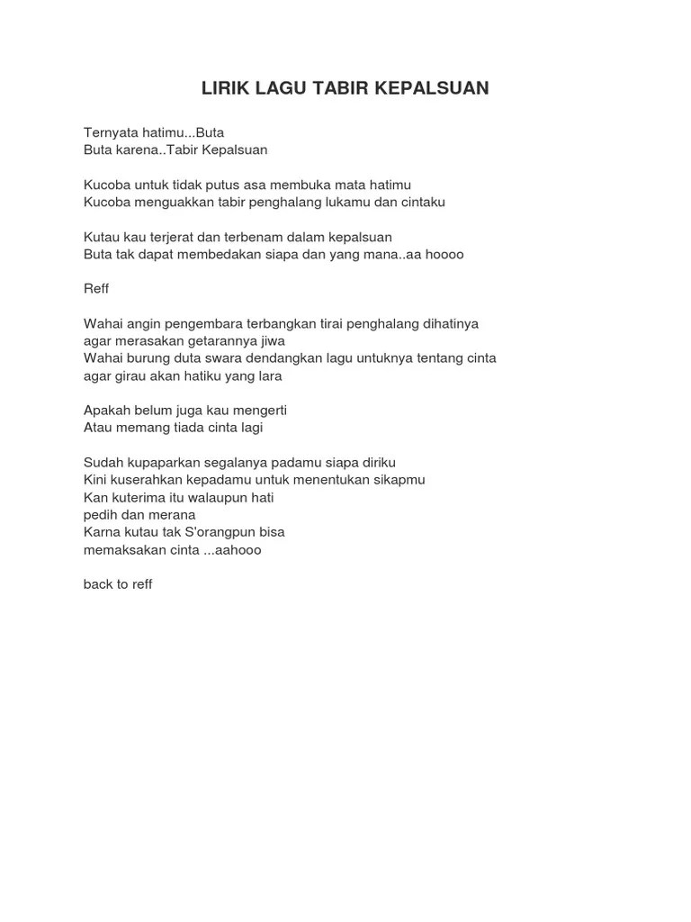 Teks Lagu Tabir Kepalsuan : tabir, kepalsuan, Lirik, Tabir, Kepalsuan